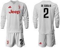 Mens 19-20 Soccer Juventus Club #2 De Sciglio White Away Long Sleeve Suit Jersey