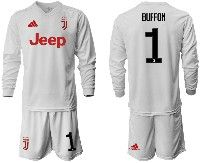 Mens 19-20 Soccer Juventus Club #1 Buffon White Away Long Sleeve Suit Jersey