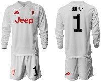 Mens 19-20 Soccer Juventus Club #1 Buffon White Away Long Sleeve Suit Jersey