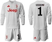 Mens 19-20 Soccer Juventus Club #1 Szczesny White Away Long Sleeve Suit Jersey