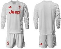 Mens 19-20 Soccer Juventus Club( Blank )white Away Long Sleeve Suit Jersey