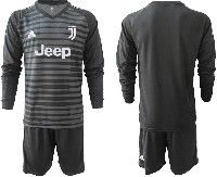 Mens 19-20 Soccer Juventus Club( Blank )black Stripe Goalkeeper Long Sleeve Suit Jersey
