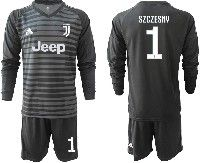 Mens 19-20 Soccer Juventus Club #1 Szczesny Black Stripe Goalkeeper Long Sleeve Suit Jersey