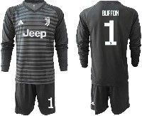Mens 19-20 Soccer Juventus Club #1 Buffon Black Stripe Goalkeeper Long Sleeve Suit Jersey