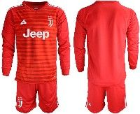 Mens 19-20 Soccer Juventus Club( Blank )red Stripe Goalkeeper Long Sleeve Suit Jersey