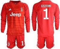 Mens 19-20 Soccer Juventus Club #1 Szczesny Red Stripe Goalkeeper Long Sleeve Suit Jersey