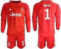 Mens 19-20 Soccer Juventus Club #1 Buffon Red Stripe Goalkeeper Long Sleeve Suit Jersey
