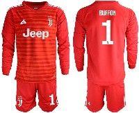 Mens 19-20 Soccer Juventus Club #1 Buffon Red Stripe Goalkeeper Long Sleeve Suit Jersey