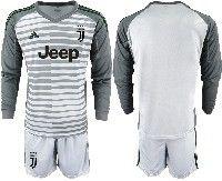 Mens 19-20 Soccer Juventus Club( Blank )gray Stripe Goalkeeper Long Sleeve Suit Jersey