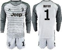 Mens 19-20 Soccer Juventus Club #1 Buffon Gray Stripe Goalkeeper Long Sleeve Suit Jersey