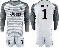 Mens 19-20 Soccer Juventus Club #1 Buffon Gray Stripe Goalkeeper Long Sleeve Suit Jersey