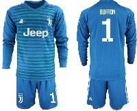 Mens 19-20 Soccer Juventus Club #1 Buffon Blue Stripe Goalkeeper Long Sleeve Suit Jersey