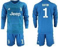 Mens 19-20 Soccer Juventus Club #1 Buffon Blue Stripe Goalkeeper Long Sleeve Suit Jersey