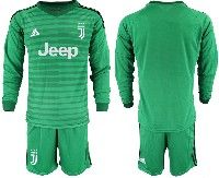 Mens 19-20 Soccer Juventus Club( Blank ) Green Stripe Goalkeeper Long Sleeve Suit Jersey