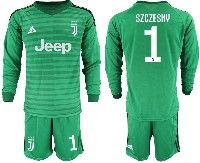 Mens 19-20 Soccer Juventus Club #1 Szczesny Green Stripe Goalkeeper Long Sleeve Suit Jersey