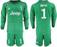 Mens 19-20 Soccer Juventus Club #1 Buffon Green Stripe Goalkeeper Long Sleeve Suit Jersey