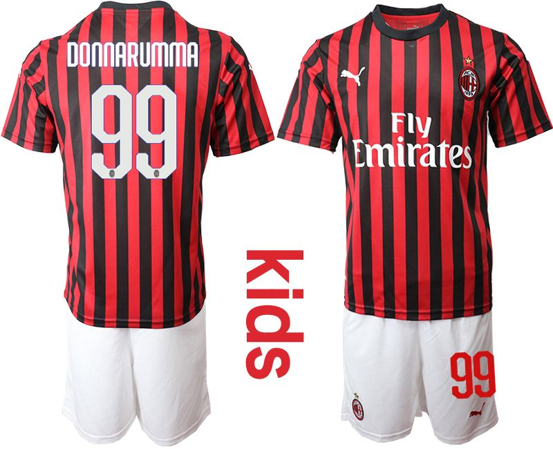 Youth 19-20 Soccer Ac Milan Club #99 Donnarumma Red And Black Stripe Home Short Sleeve Suit Jersey
