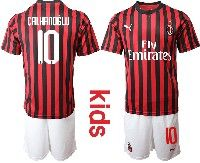 Youth 19-20 Soccer Ac Milan Club #10 Calhanoglu Red And Black Stripe Home Short Sleeve Suit Jersey