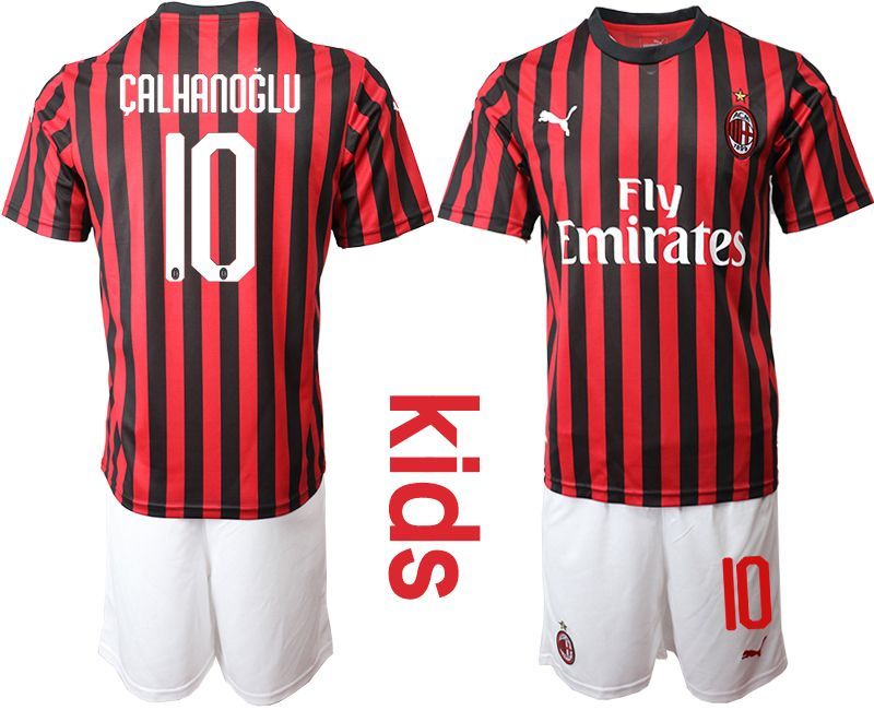 Kids 19-20 Soccer Ac Milan Club #10 Calhanoglu Red And Black Stripe Home Short Sleeve Suit Jersey