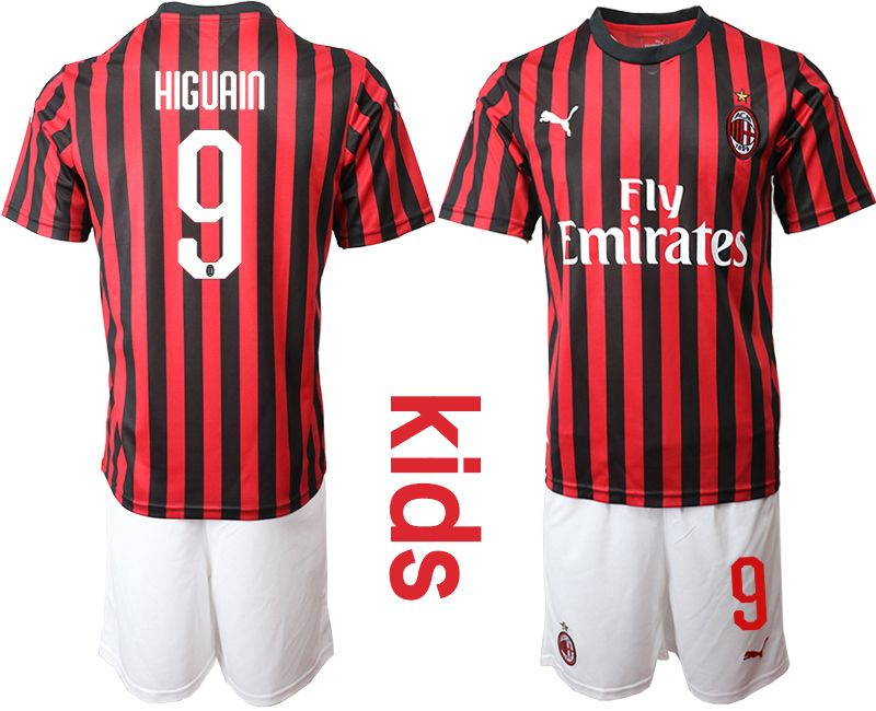 Kids 19-20 Soccer Ac Milan Club #9 Higuain Red And Black Stripe Home Short Sleeve Suit Jersey