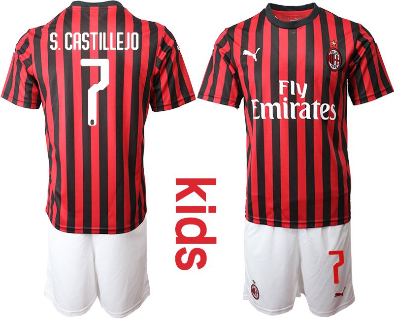 Youth 19-20 Soccer Ac Milan Club #7 S.castillejo Red And Black Stripe Home Short Sleeve Suit Jersey