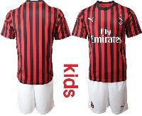 Youth 19-20 Soccer Ac Milan Club Custom Made Red And Black Stripe Home Short Sleeve Suit Jersey