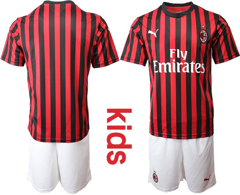 Kids 19-20 Soccer Ac Milan Club Custom Made Red And Black Stripe Home Short Sleeve Suit Jersey