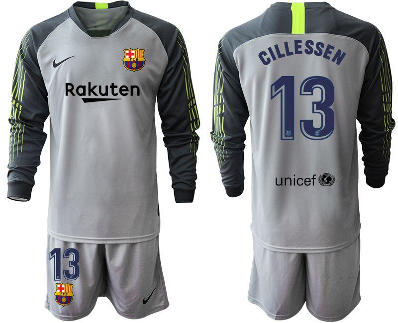 Mens 19-20 Soccer Barcelona Club #13 Jasper Cillessen Gray Goalkeeper Long Sleeve Suit Jersey
