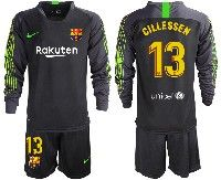 Mens 19-20 Soccer Barcelona Club #13 Jasper Cillessen Black Goalkeeper Long Sleeve Suit Jersey