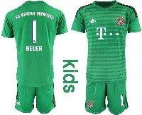 Youth 19-20 Soccer Bayern Munchen #1 Neuer Green Goalkeeper Short Sleeve Suit Jersey