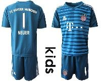Youth 19-20 Soccer Bayern Munchen #1 Neuer Blue Goalkeeper Short Sleeve Suit Jersey