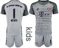 Youth 19-20 Soccer Bayern Munchen #1 Neuer Gray Goalkeeper Short Sleeve Suit Jersey