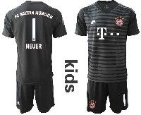 Youth 19-20 Soccer Bayern Munchen #1 Neuer Black Gray Stripe Goalkeeper Short Sleeve Suit Jersey