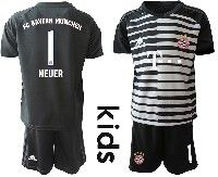 Youth 19-20 Soccer Bayern Munchen #1 Neuer Black White Stripe Goalkeeper Short Sleeve Suit Jersey