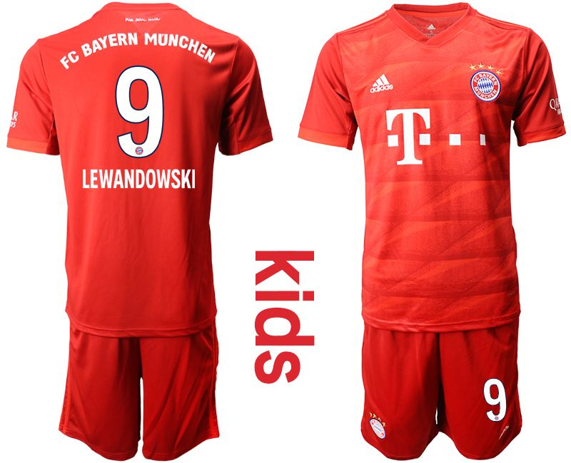 Kids 19-20 Soccer Bayern Munchen #9 Lewandowski Red Home Short Sleeve Suit Jersey