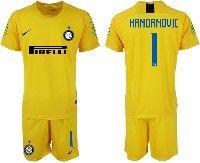 Mens 19-20 Soccer Inter Milan Club #1 Handanovic Yellow Goalkeeper Short Sleeve Suit Jersey