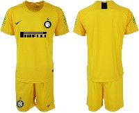 Mens 19-20 Soccer Inter Milan Club( Blank )yellow Goalkeeper Short Sleeve Suit Jersey