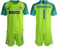Mens 19-20 Soccer Inter Milan Club #1 Handanovic Green Goalkeeper Short Sleeve Suit Jersey