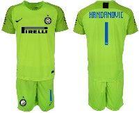 Mens 19-20 Soccer Inter Milan Club #1 Handanovic Fluorescence Green Goalkeeper Short Sleeve Suit Jersey
