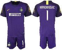 Mens 19-20 Soccer Inter Milan Club #1 Handanovic Purple Goalkeeper Short Sleeve Suit Jersey