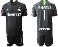 Mens 19-20 Soccer Inter Milan Club #1 Handanovic Black Goalkeeper Short Sleeve Suit Jersey