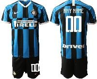 Mens 19-20 Soccer Inter Milan Club ( Custom Made ) Blue And Black Stripe Home Short Sleeve Suit Jersey