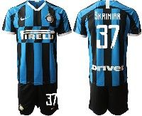 Mens 19-20 Soccer Inter Milan Club #37 Skriniar Blue And Black Stripe Home Short Sleeve Suit Jersey