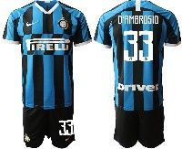 Mens 19-20 Soccer Inter Milan Club #33 D'ambrosio Blue And Black Stripe Home Short Sleeve Suit Jersey