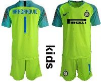 Youth 19-20 Soccer Inter Milan Club #1 Handanovic Green Goalkeeper Short Sleeve Suit Jersey