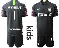 Youth 19-20 Soccer Inter Milan Club #1 Handanovic Black Goalkeeper Short Sleeve Suit Jersey