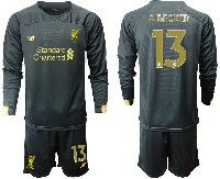 Mens 19-20 Soccer Liverpool Club #13 A.becker Black Goalkeeper Long Sleeve Suit Jersey