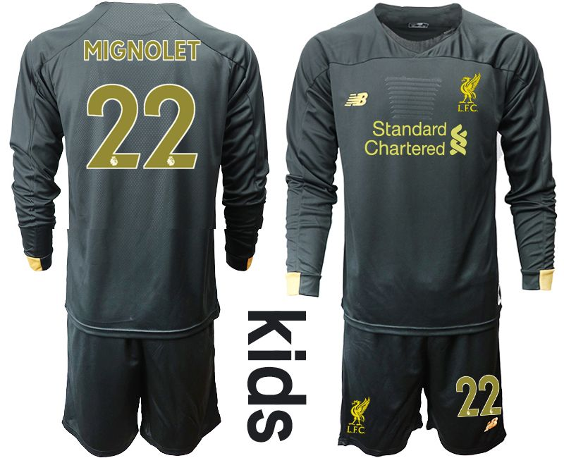 Youth 19-20 Soccer Liverpool Club #22 Mignolet Black Goalkeeper Long Sleeve Suit Jersey