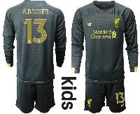 Youth 19-20 Soccer Liverpool Club #13 A.becker Black Goalkeeper Long Sleeve Suit Jersey