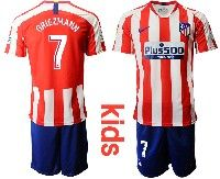 Youth 19-20 Soccer Atletico De Madrid Club #7 Griezmann Red And White Stripe Home Short Sleeve Suit Jersey